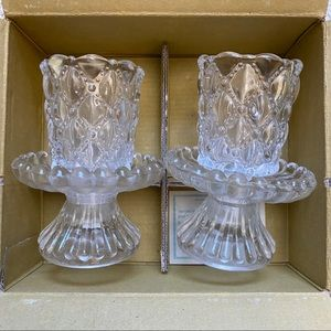 Partylite quilted crystal pair P9246 new in box